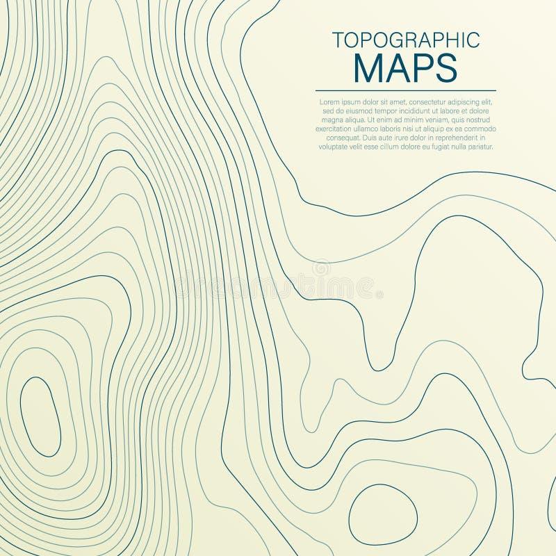 Mopographic地图 地形学等高的风格化高度在线和等高的 t 向量例证