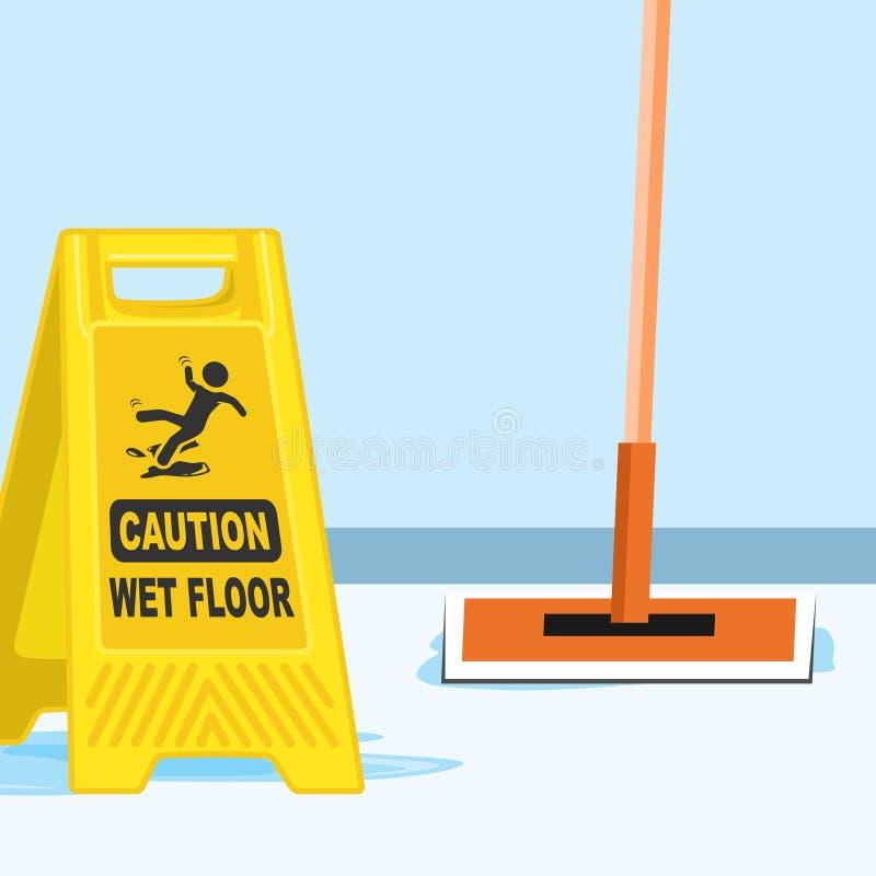Mopp-und Zeichen-nass Boden-Vektor-Illustration stock abbildung