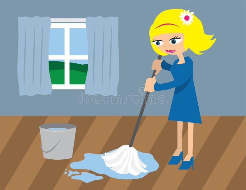 mopping γυναίκα πατωμάτων ελεύθερη απεικόνιση δικαιώματος