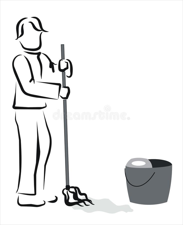 Download Mopping the floor stock vector. Illustration of domestic - 23898723