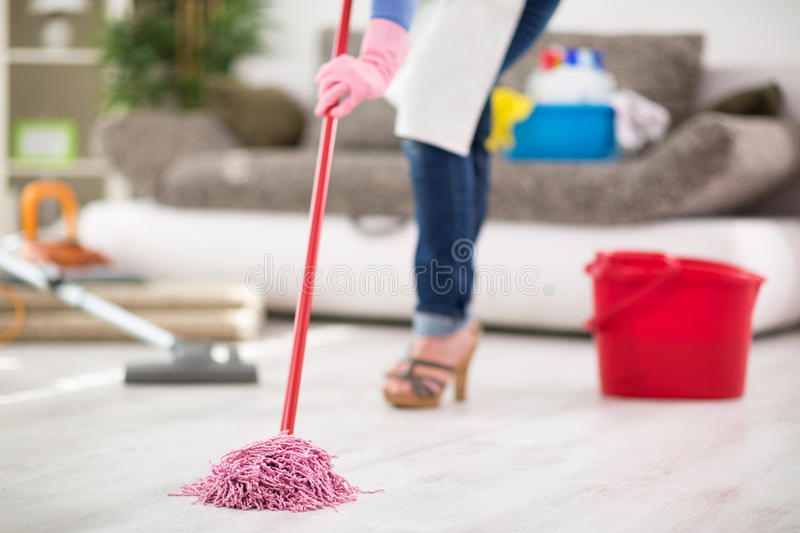 Mopping floor. Close up of mopping floor in room royalty free stock photography