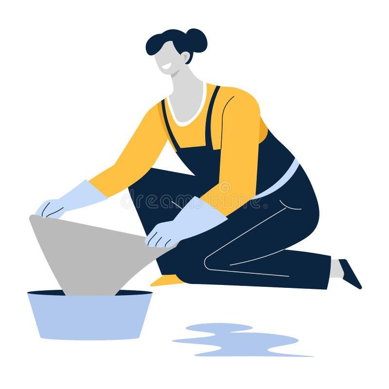 Mopping podłogi lub wycierający, gospodyni domowa lub czyści usługa, płótno i basen, ilustracja wektor