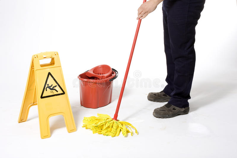 Mopping White Floor Royalty Free Stock Photo