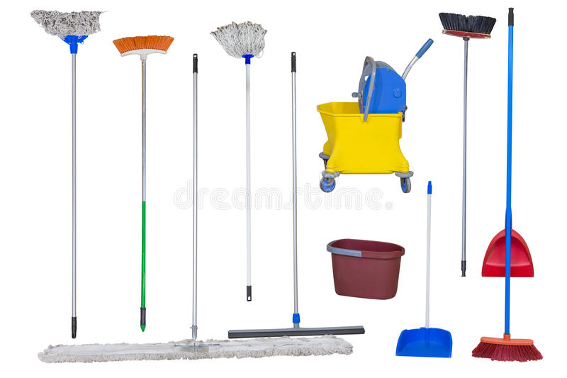 mops and brooms. Download Mops, Brooms And Trash Cans Isolated On White Background Stock Photo - Image Of Mops