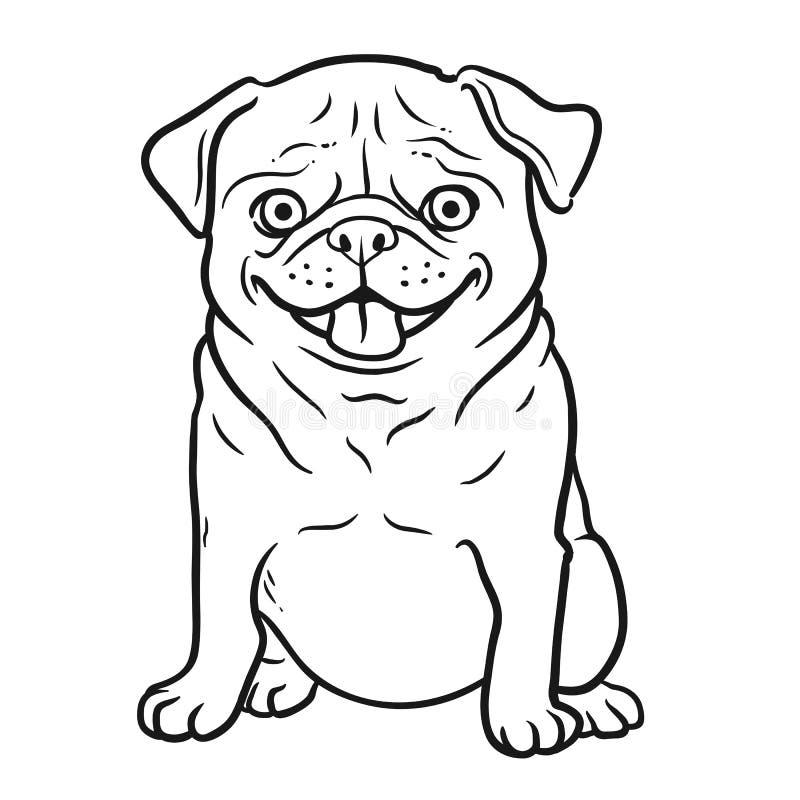 Mops kreskówki psia czarny i biały ręka rysujący portret Śmieszny szczęśliwy ilustracja wektor