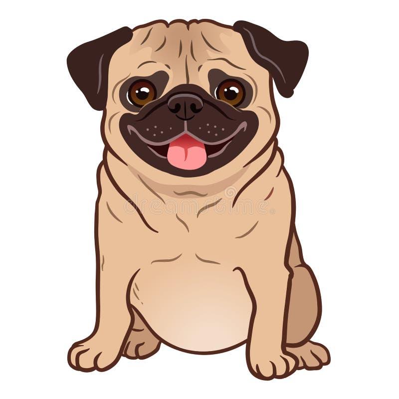 Mops kreskówki psia ilustracja Śliczny życzliwy gruby pyzaty źrebięcia sitt ilustracja wektor