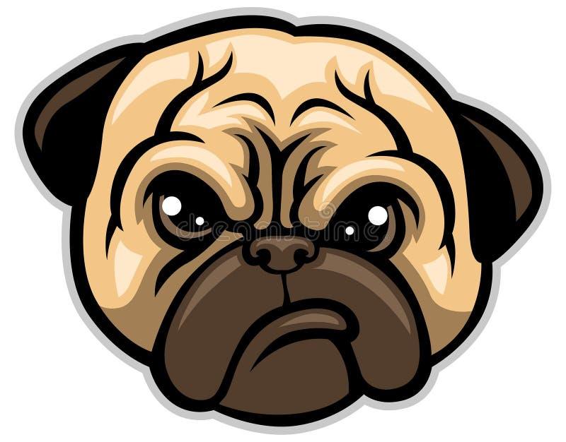 Mops psia głowa royalty ilustracja
