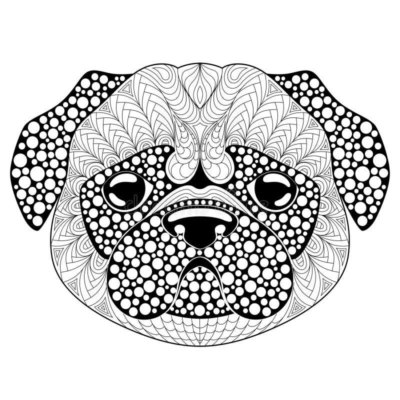 Mops psia głowa Tatuaż lub dorosła antistress kolorystyki strona Czarny i biały ręka rysujący doodle dla kolorystyki książki Symb ilustracja wektor