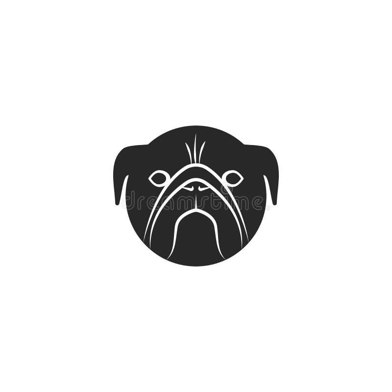 Mops psiej głowy logo czarny i biały wektorowa ilustracja Zwierzę domowe emblemata świetlicowy mockup ilustracja wektor