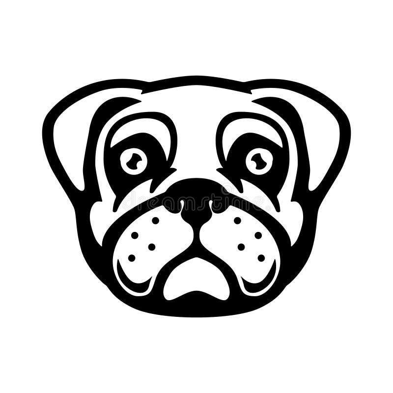Mops psiej głowy ilustracja w rytownictwo stylu Projektuje element dla loga, przylepia etykietkę, podpisuje, plakat, t koszula ilustracja wektor