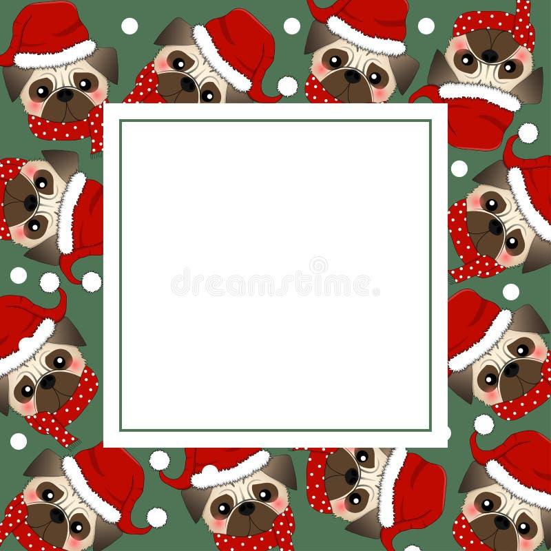 Mops Santa Claus Dog med den röda halsduken på grönt banerkort också vektor för coreldrawillustration stock illustrationer