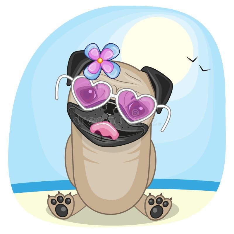 Mopsa pies na plaży royalty ilustracja