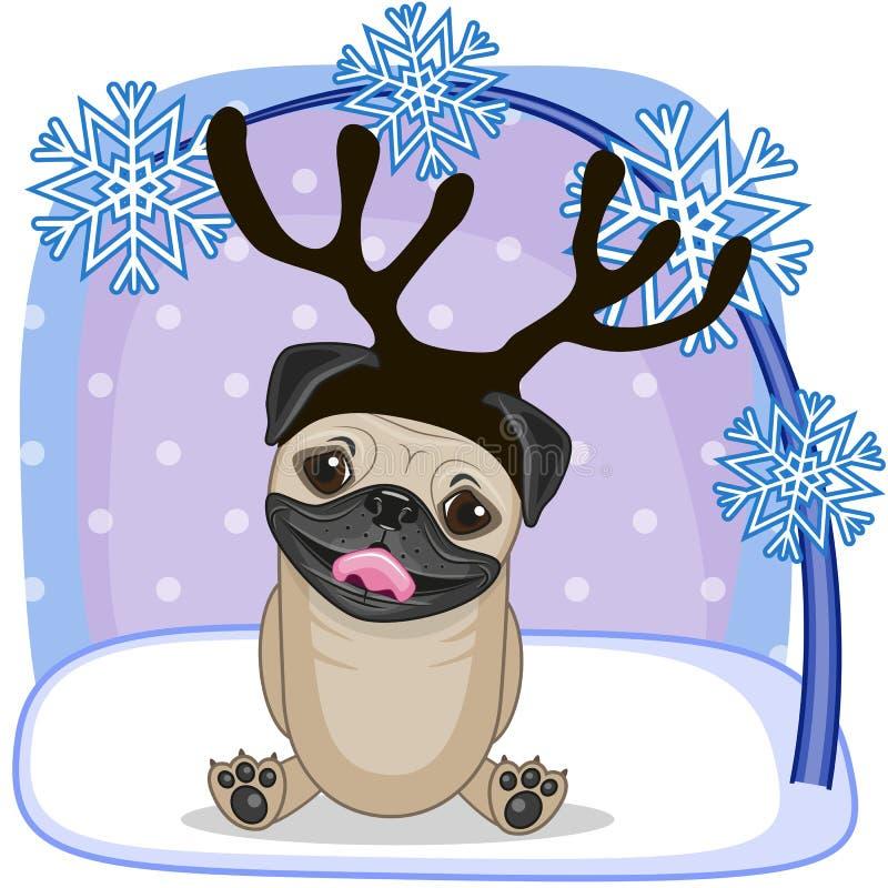 Mopsa pies z poroże ilustracja wektor