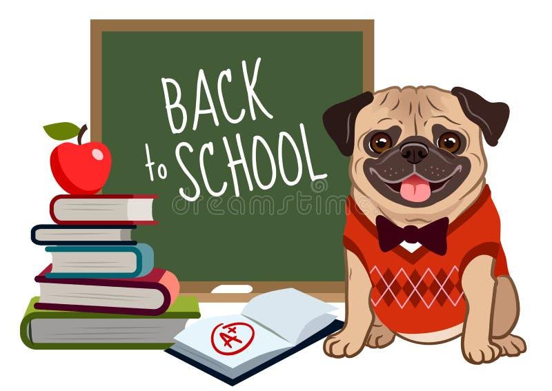 Mopsa pies z powrotem szkoły kreskówki ilustracja Śliczny życzliwy mops p royalty ilustracja
