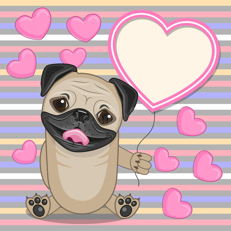 Mopsa pies z serce ramą royalty ilustracja