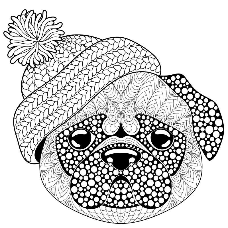 Mopsa pies z trykotowym kapeluszem Tatuaż lub dorosła antistress kolorystyki strona Czarny i biały ręka rysujący doodle dla kolor ilustracji