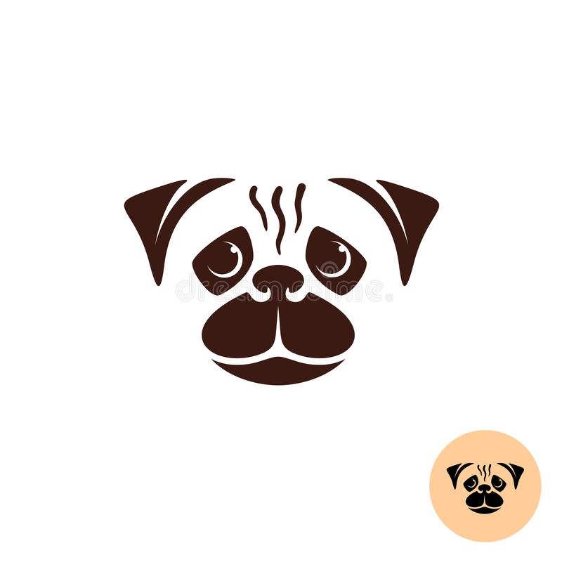 Mopsa psa twarzy logo ilustracja wektor