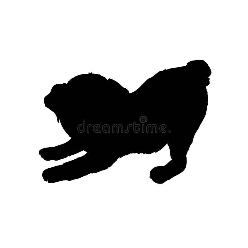 Mopsa purebred psa obsiadanie w bocznym widoku z cieniem - wektorowa sylwetka odizolowywająca ilustracji