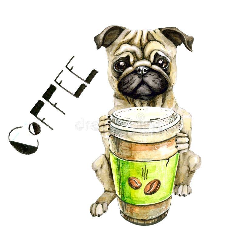 Mopsavelhund med ett exponeringsglas av kaffe som isoleras på vit bakgrund gullig valp stock illustrationer