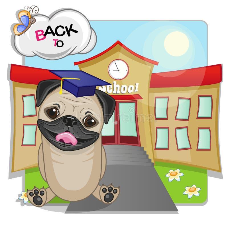 Mopshund och skola stock illustrationer
