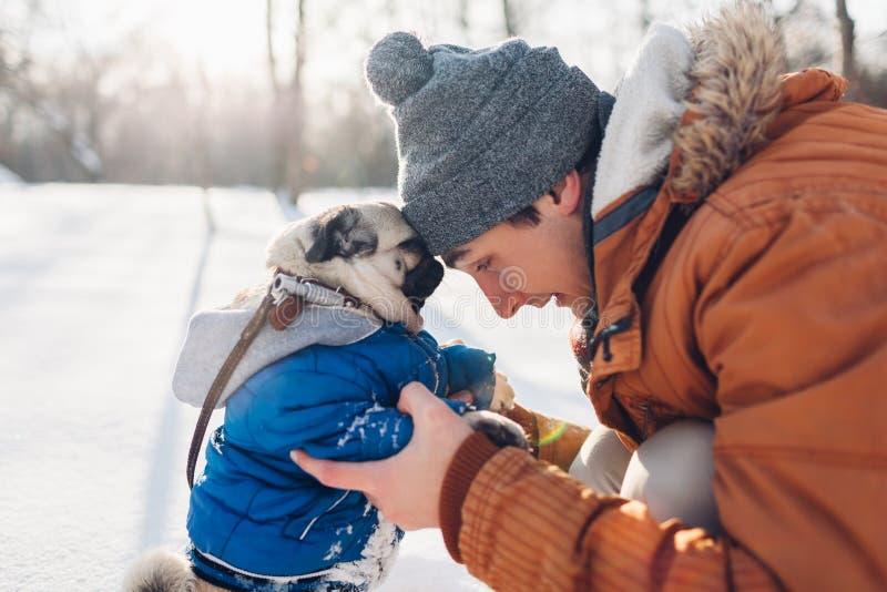 Mopshund som går på snö med hans förlage Bärande vinterlag för valp Man som kramar hans husdjur i vinterskog arkivbild