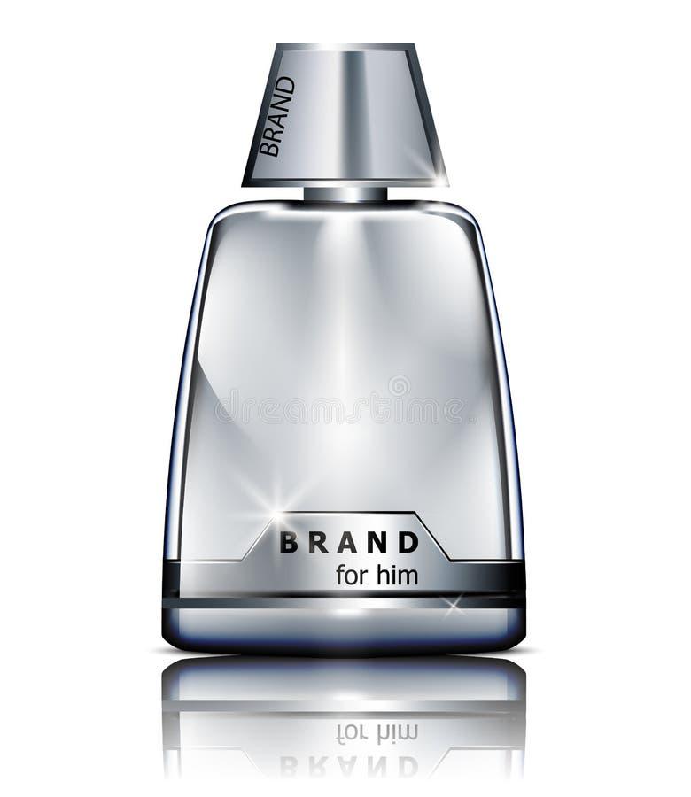 Moquerie argentée réaliste de bouteille de parfum de vecteur d'isolement sur le blanc Cosmétiques détaillés de empaquetage de pro illustration de vecteur