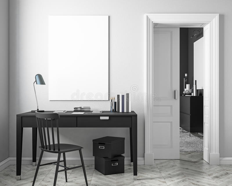 Moquerie blanche classique d'intérieur de lieu de travail avec la table, chaise, porte l'illustration 3d rendent illustration stock