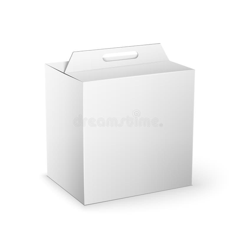 Moquerie blanche de boîte de paquet de produit vers le haut de calibre illustration de vecteur