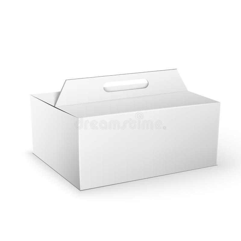 Moquerie blanche de boîte de paquet de produit vers le haut de calibre illustration libre de droits