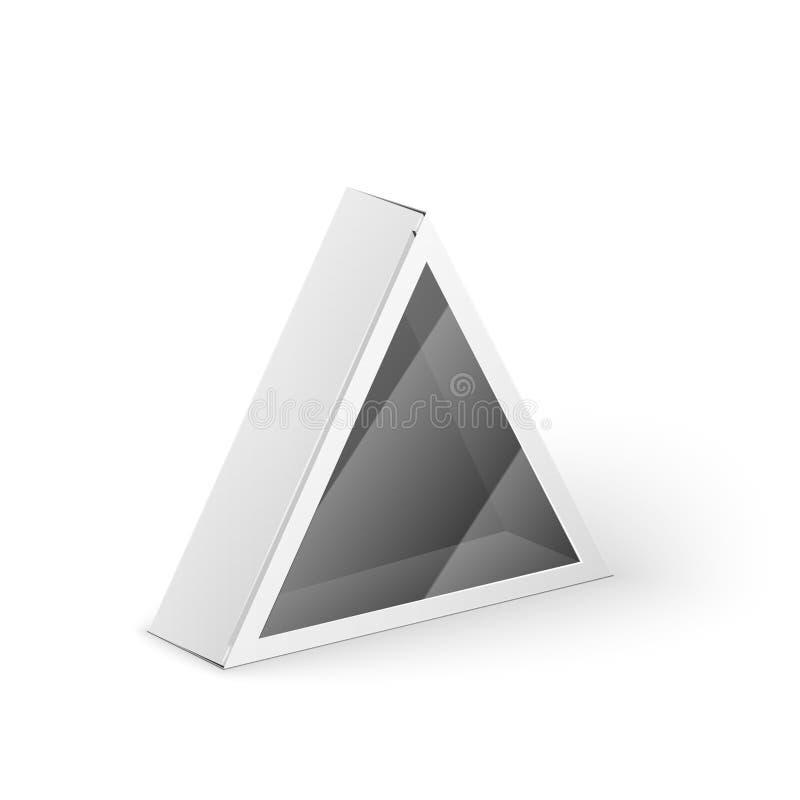 Moquerie blanche de boîte de paquet de triangle de produit  illustration stock