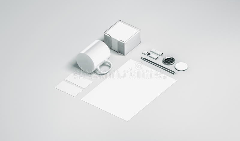 Moquerie blanche vide d'ensemble de papeterie de bureau d'isolement illustration stock