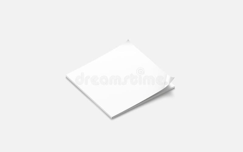 Moquerie carrée fermée blanche de journal de blanc, vue de côté, illustration de vecteur