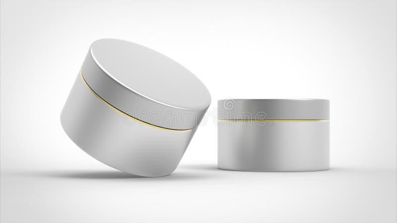 Moquerie cosmétique réaliste de pot d'isolement sur le fond blanc illustration stock