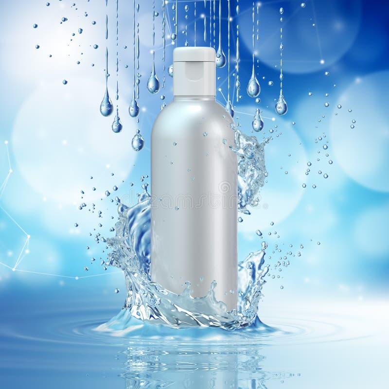 Moquerie crème de bouteille dans l'éclaboussure de l'eau sur le fond bleu de bokeh illustration stock