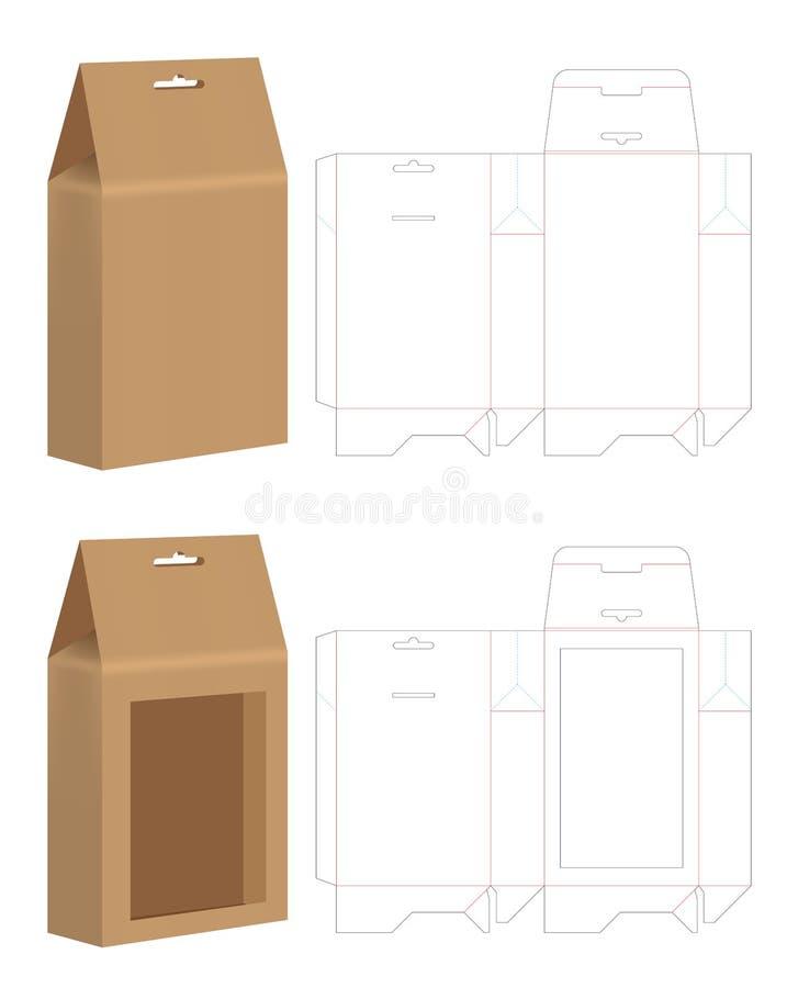 Moquerie découpée avec des matrices de sac de papier vers le haut de vecteur de calibre illustration de vecteur