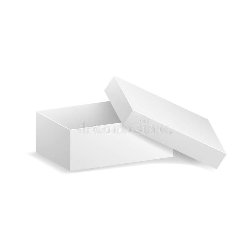 Moquerie détaillée réaliste de boîte de place blanche de blanc du calibre 3d  Vecteur illustration stock