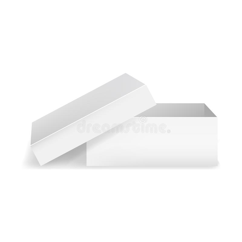 Moquerie détaillée réaliste de boîte de place blanche de blanc du calibre 3d  Vecteur illustration libre de droits