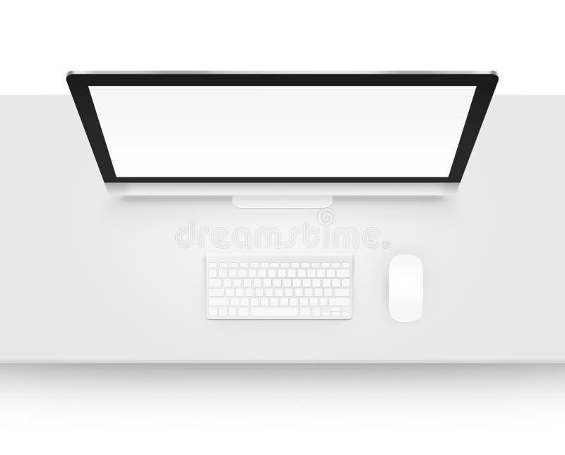 Moquerie d'affichage d'ordinateur avec le clavier et la souris de au-dessus de l'isolant illustration libre de droits