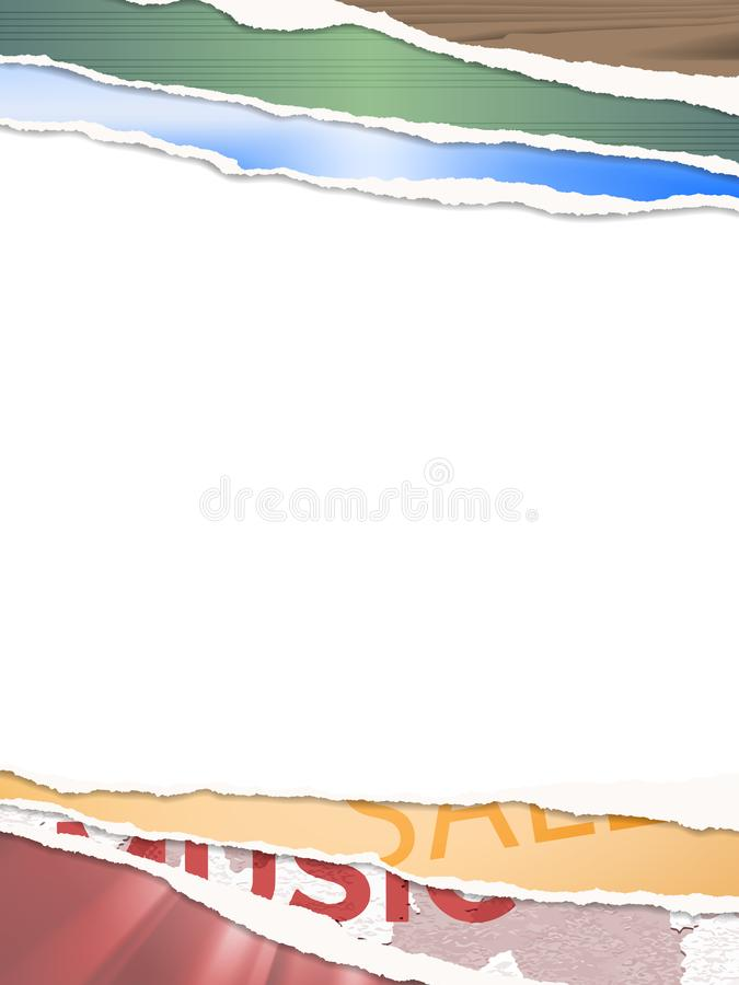 Moquerie d'affiche avec la vieille frontière déchirée colorée de papiers illustration stock