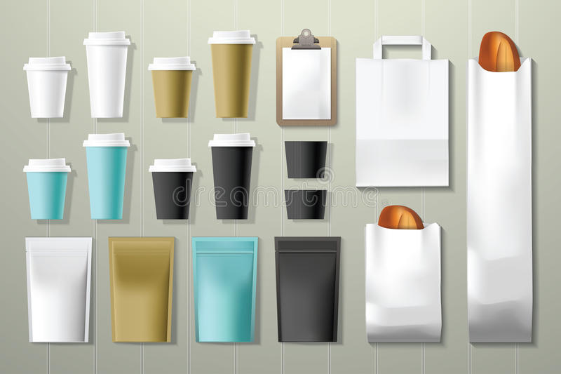 Moquerie d'emballage d'identité d'entreprise de café et de restaurant vers le haut de calibre illustration libre de droits
