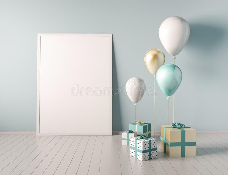 Moquerie d'intérieur vers le haut de scène avec le bleu et les boîte-cadeau et les ballons d'or 3d brillant réaliste objecte pour illustration libre de droits