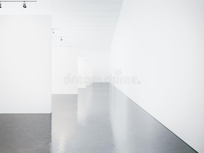 Moquerie d'intérieur vide de galerie de musée 3d photographie stock libre de droits