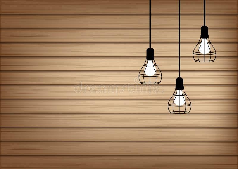 moquerie 3D vers le haut d'illustration réaliste de fond de lumière en bois et de lampe illustration libre de droits