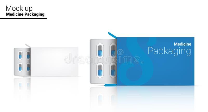 Moquerie de calibre de boîte vers le haut de l'emballage réaliste de panneau de médecine de pilule sur l'illustration blanche de  illustration libre de droits