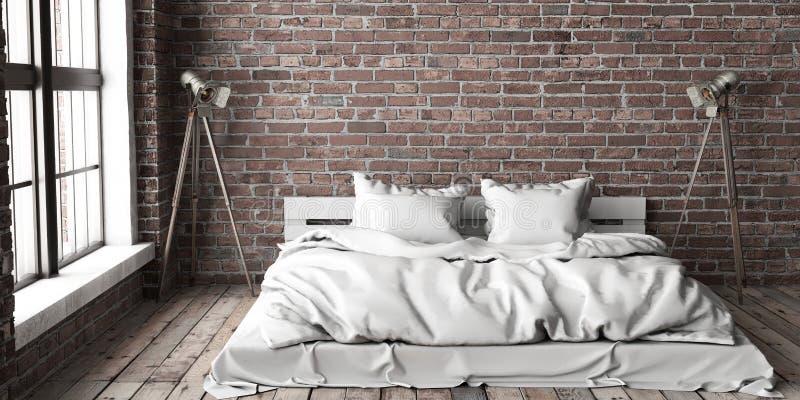 Moquerie de chambre à coucher de Minimalistik dans le style de grenier illustration stock