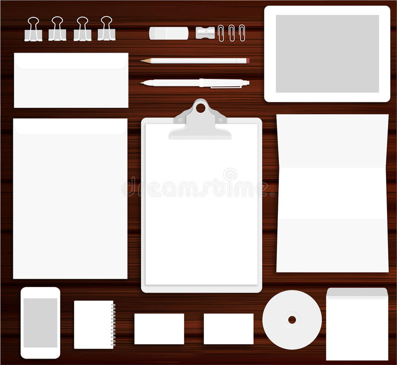 Moquerie de marquage à chaud blanche sur le fond en bois illustration stock