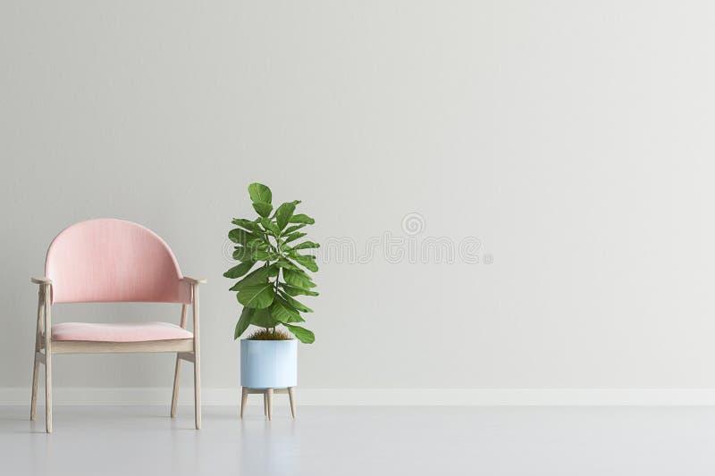 Moquerie de mur intérieur de salon avec le fauteuil et l'usine de velours illustration stock