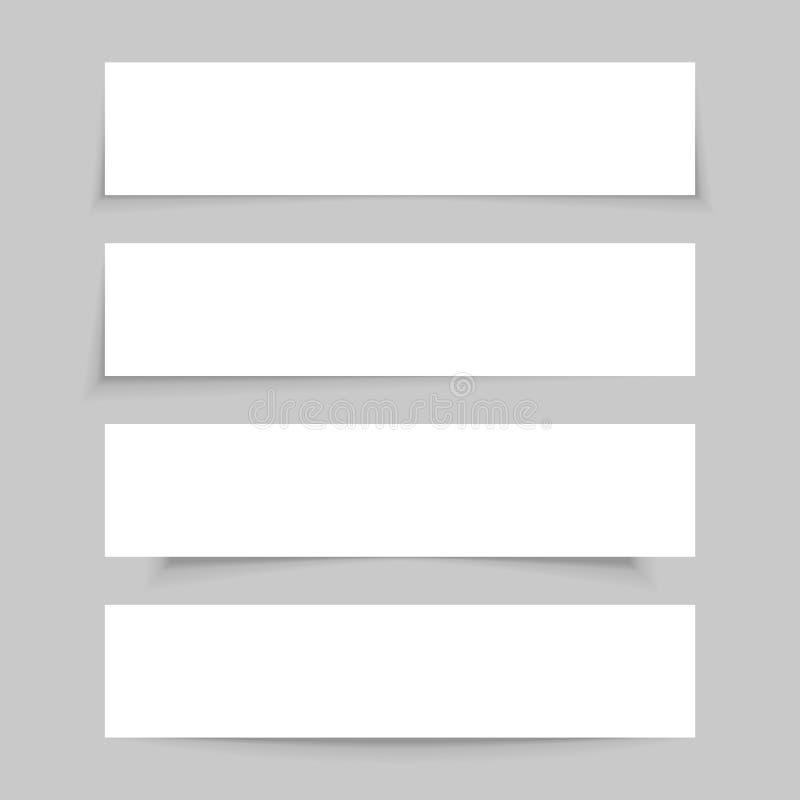 Moquerie de papier vide blanche, ensemble de bannières vides avec les ombres transparentes réalistes illustration stock