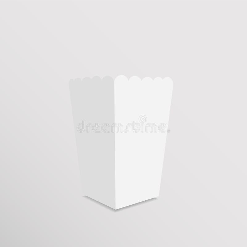 Moquerie de papier vide de boîte à maïs éclaté de blanc  illustration stock