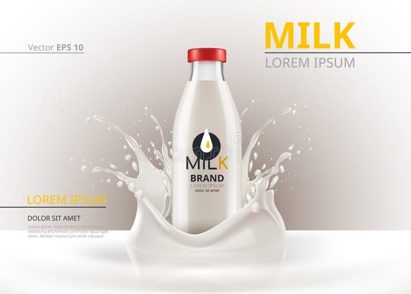 Moquerie de paquet de bouteille à lait vers le haut de vecteur réaliste Fond liquide d'éclaboussure illustration libre de droits